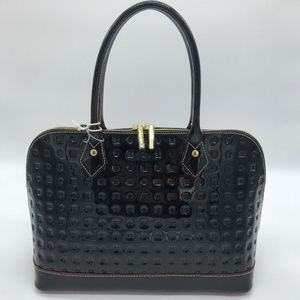 AUTH ARCADIA BLACK PATENT LEATHER SIGNATURE Bag